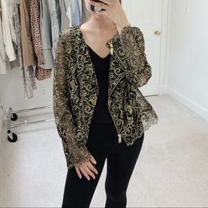Haute Hippie | Metallic Lace Zip Jacket in Black